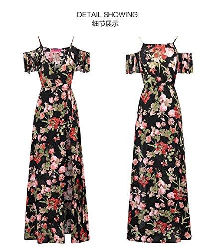 Gaoqiangfeng Cintura Di E S Alta Abito V Stampa Con Collo A Donne'scinturino wxaU1w