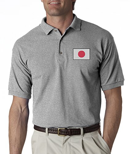 A2S Japanese National Flag Japan Hinomaru Embroidered Polo Shirt S-3XL 8 Colors - Grey - M