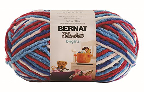 Bernat Blanket BrightsYarn - (6) Super Bulky Gauge  - 10.5 oz - Red White Boom Variegate  -  Machine Wash & Dry