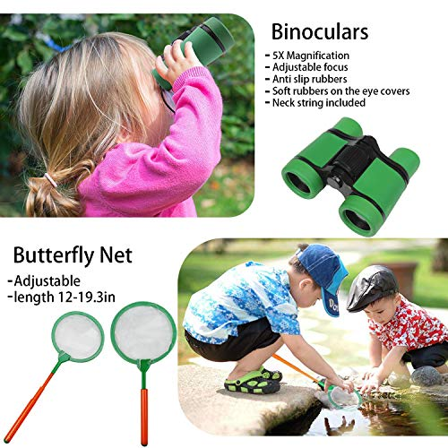 Outdoor Explorer Kit for Kids-39PCS Include Children/'s Toy Binoculars Compass Whistle Magnifying Glass Bug Catch Backpack Stickers And Pen Kids Adventure Pack Camping Hiking For Kids Adventure Zoneyee