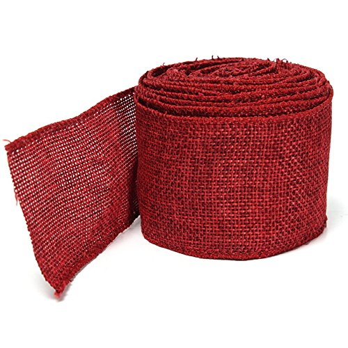 5M Home Decoration Natural Linen Wedding Party Burlap Wreath Jute Burlap Ribbon Lace Craft Gift Wrap Rustic Fabric Supplies (Wine red)