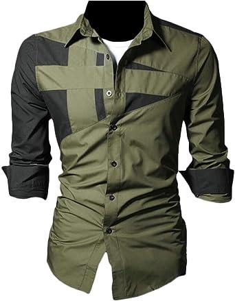 ShuangRun Camisa Casual de Manga Larga con Botones para Hombre, Color Verde Militar: Amazon.es: Ropa y accesorios