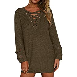 BOBIBI Women's Lace Up Front V Neck Long Sleeve Knit Pullover Sweater Mini Dress Top Army Green Large
