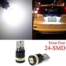 AUXITO Super Bright LED Bulbs 168 175 194 2825 W5W T10 24-SMD 3014 Chipsets 6000K White for Car Dome Map Door Courtesy License Plate Lights Pack of 2