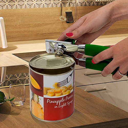 Belinix The Best Manual Can Opener Professional Heavy Duty .Stainless Steel,Good Soft Grips Handle.Easy Turn Knob,Open Cans And Tins Effortlessly.Safety Smooth Edge.Works Great,Durable. (Green)