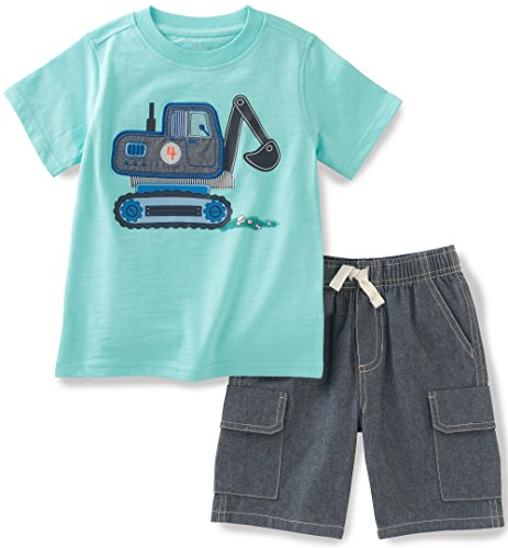 Kids Headquarters Baby Boys 2 Pieces Shorts Set-Tee Top, Green, 18M