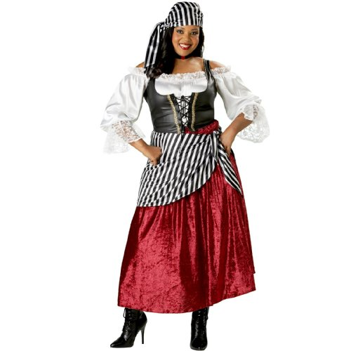InCharacter Costumes Women's Plus-Size Pirate's Wench Adult Plus Size Costume, Black/Burgundy, 2X (Plus Size Renaissance Wench Costume)