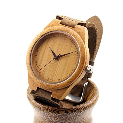 Ideashop Vosicar Retro Leather Fashion Bamboo Wooden Watch Japan Movement Quartz with Genuine Cowhide Leather Band Casual Watches Creative Gifts for Men