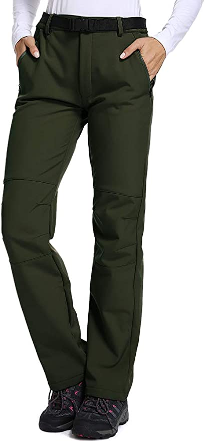 linlon Kids Boys Girls Fleece Lined Waterproof Hiking Pants Outdoor Soft Shell Snow Insulated Cargo Pants Warm Trousers