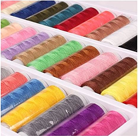 Set of 39 Spool Different Assorted Mixed Colors Sewing Thread Lot Kit Home Tools