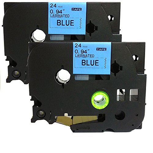 NEOUZA 2PK Compatible For Brother P-Touch Laminated TZe TZ Label Tape 24mm x 8m (TZe-551-Black on Blue)