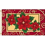 3x5 Poinsettias Flag Christmas Banner Holiday Decoration New