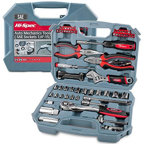 Car Tool Kit, Hi-Spec DT30016, SAE Auto Mechanics Tool Set - 3/8 Ratchet, 5/32 - 3/4 SAE Sockets Set, T-Bar, Extension Bar, 67 Piece SAE Hand Tools & Screw Bits in Storage Case
