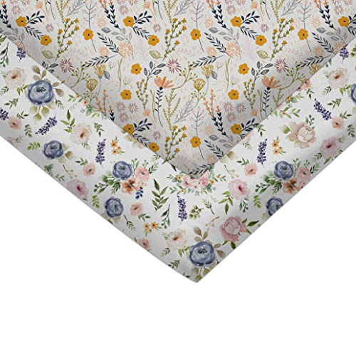 Pack n Play Fitted Pack n Play Playard Sheet Set-2 Pack Portable Mini Crib Sheets,Playard Mattress Cover,Super Soft Material, Meadow Flowers