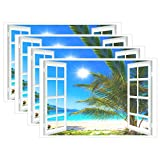 Wamika Tropical Table Mat Placemat, Summer Palm Tree Window Beach Placemats Non Slip Stain Heat Resistant 12x18x4 in for Home Dining Kitchen Decor Set of 4