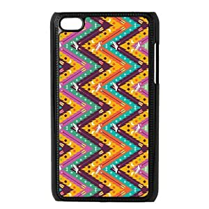 Aztec Series Chevron Design Colorful Custom Luxury Cover Case with Best Plastic For IPod touch4(Black)