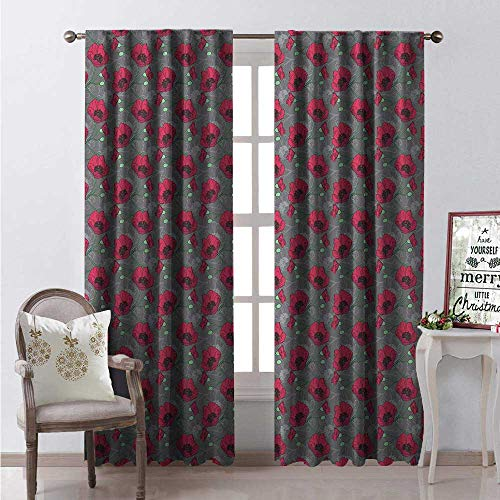 Hengshu Poppy Thermal Insulating Blackout Curtain Romantic Corsage of Flowers Greyscale Outline Background Nature Blackout Draperies for Bedroom W96 x L84 Grey Dark Coral Sea Green