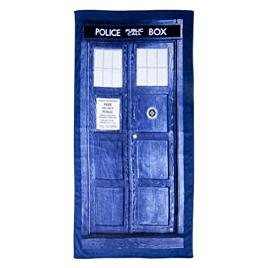 Doctor Who TARDIS Door Cotton Beach or Bath Towel (59  long x 29 1/2  wide)