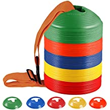 KEVENZ 50-Pack Soccer disc Cones,More Thicker, More Flexible,Multi Color Cone for Agility Training, Soccer, Football, Kids, Field Marker(Red,Blue,Orange,Yellow,Green)