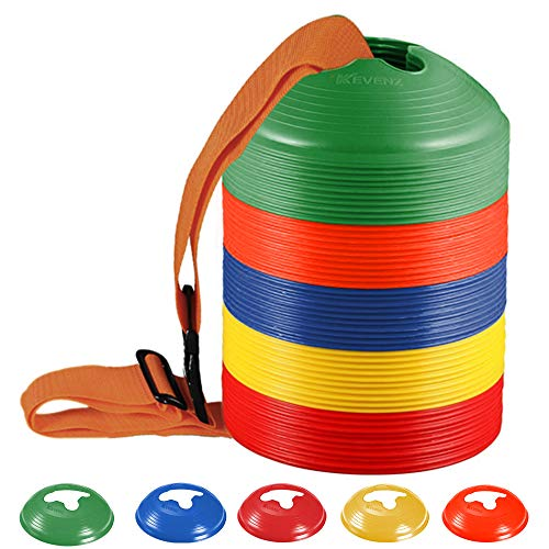 KEVENZ 50-Pack Soccer disc Cones,More Thicker, More Flexible,Multi Color Cone for Agility Training, Soccer, Football, Kids, Field Marker (Green, Orang, Yellow, Blue, Red)