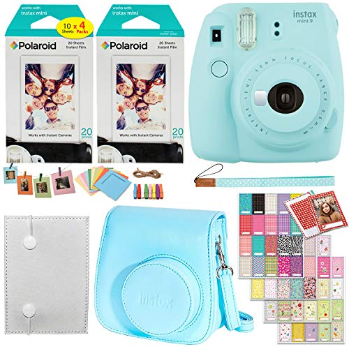 Fujifilm Instax Mini 9 Instant Camera (Ice Blue), 2 x Twin Pack Instant Film (40 Sheets), Camera Case, Photo Album, Square Photo Frames & Accessory Bundle
