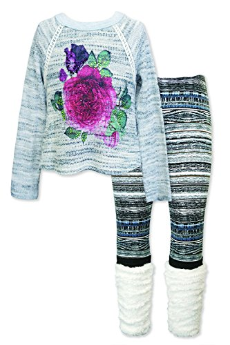 Girls' Long Sleeve Embellished Top & Bottom Set, 2-6X, 7-14 (5, Soft Grey Multi)