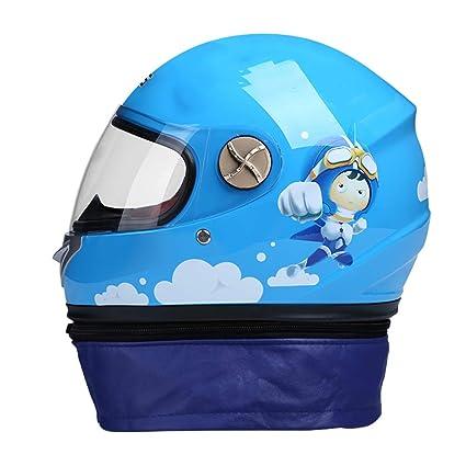 HLeoz Casco de Moto para niños, Casco Cálido para niños Lente ...