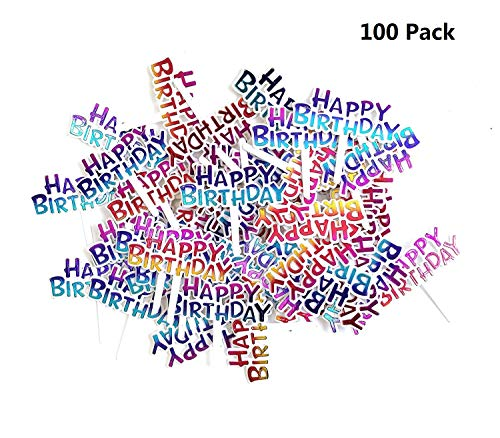 Yunko Pack of 100 Colourful Rainbow Happy Birthday Cupcake Picks Cake Toppers]()