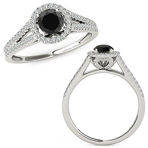 0.98 Carat Black Diamond Promise Halo Half Eternity Engagement Promise Bridal Band Ring 14K White Gold ()