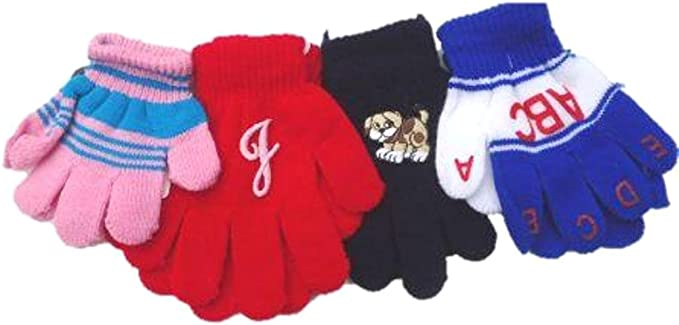 Set of Four Pairs Magic Gloves for Infants Ages 1-4 Years One with Monogram