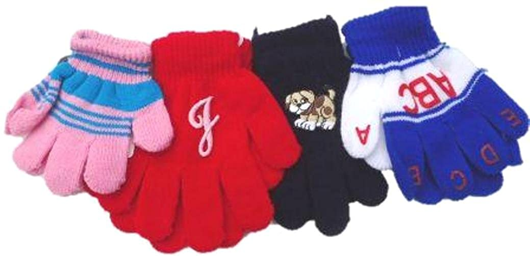 Four Pairs of Magic Stretch Gloves for Infants and Toddlers Ages 1-4 Years