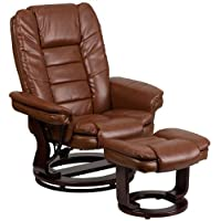 Parkside Contemporary Brown Vintage Leather Recliner and Ottoman with Swiveling Mahogany Wood Base