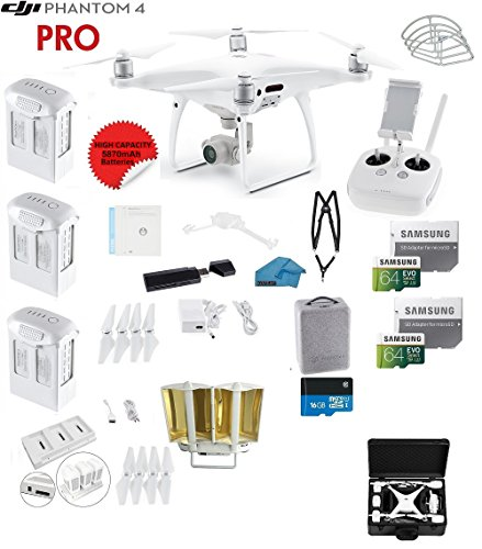 DJI Phantom 4 PRO Quadcopter Drone with 1-inch 20MP 4K Camera KIT + 3 Total DJI Batteries + 2 64GB Micro SDXC Cards + Reader + Snap on Prop Guards + Range Extender +