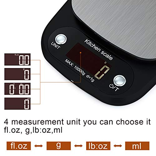 DITUCU Digital Food Scale Kitchen Scale 22lb Weight Grams 1g/0.1oz Precise Graduation For Cooking Baking,4 Unit/HD LCD Display/Stainless Steel Platform (USB Cable& Batteries Included)