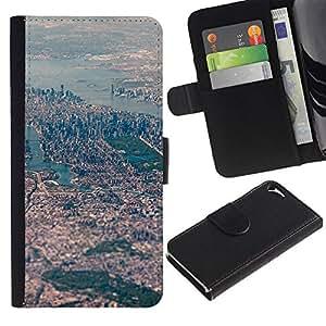 Estuche de Cuero Billetera del tirón Tarjeta de la Bolsa Titular de Suave Caso para Apple Iphone 5 / 5S / CECELL Phone case / / View Big City River Landscape /