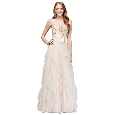 Davids Bridal Embroidered A-Line Prom Dress with Vertical Ruffle Skirt Style N374203 at Amazon Womens Clothing store: