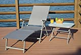 Kozyard Cozy Aluminum Beach Yard Pool Folding Reclining Adjustable Chaise Lounge Chair