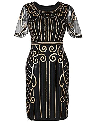 kayamiya Women's Flapper Dresses 1920s Sequins Art Deco Cocktail Gatsby Dress With Sleeve
