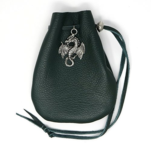 Bag Leather Dice (Green Leather Dice Bag with Dragon)