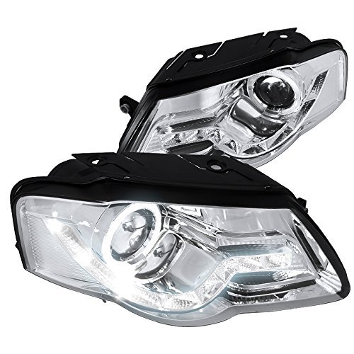 Spec-D Tuning LHP-PAS05-8-TM VW Passat Chrome Clear R8 Style LED DRL Halo Projector (R8 Style Projector Headlights)