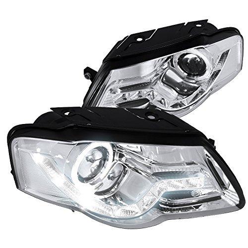 Spec-D Tuning LHP-PAS05-8-TM VW Passat Chrome Clear R8 Style LED DRL Halo Projector Headlights (Passat Projector)