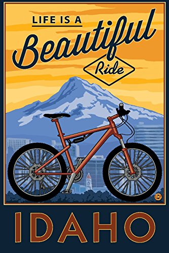Idaho Signed - Idaho - Life is a Beautiful Ride - Bike and Mountain Press Arwork (24x36 SIGNED Print Master Giclee Print w/Certificate of Authenticity - Wall Decor Travel Poster)