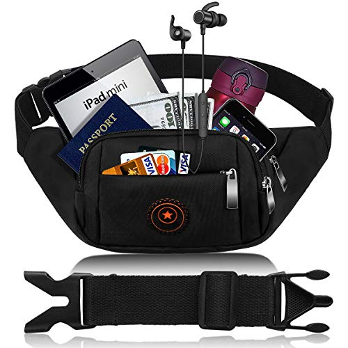 CAMORF Updated Fanny Pack for Women Men Large Capacity Waist Pack with 4 Pockets - Waterproof Running Belt Fits MAX 7.9 iPad & 6.6 Cellphone iPhone -Waist Bag for Running Hiking Travelling Working