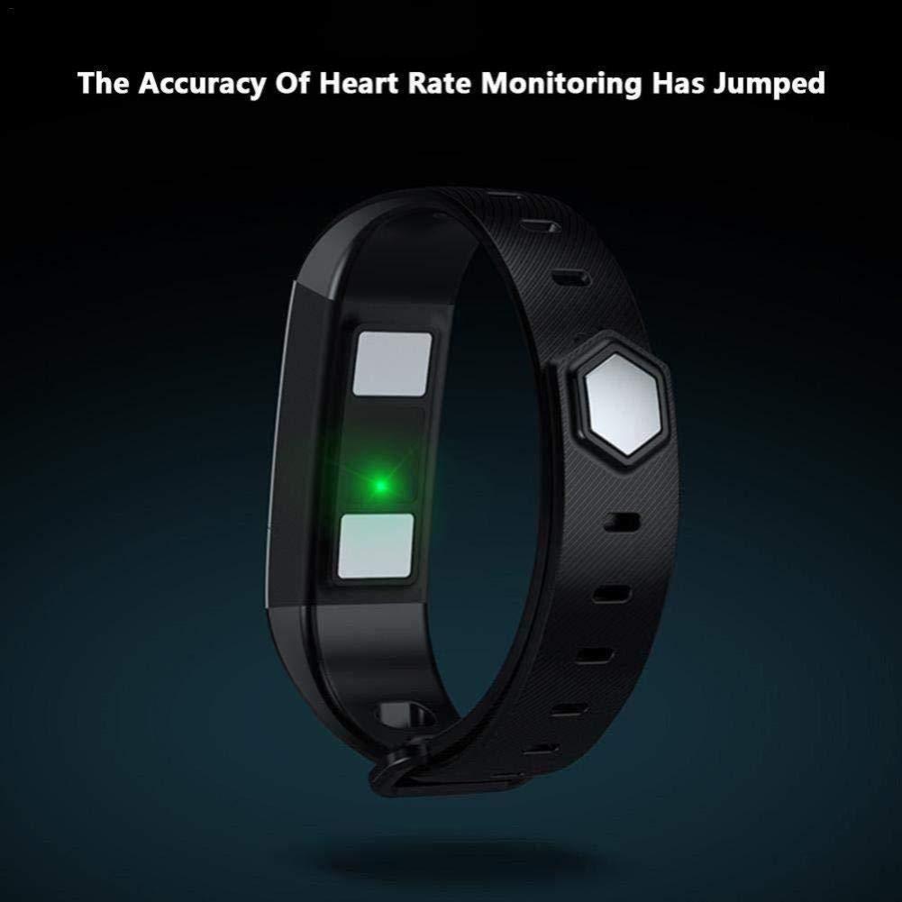 SIECPC Pulsera Inteligente a Prueba de Agua Ejercicio para rastreador de Ejercicio Bluetooth contra la frecuencia cardíaca Sueño Salud Monitoreo Información recordatorio (Color : Negro)