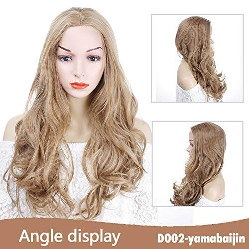Golden Blonde Long Curly Wig Synthetic Cosplay Wig With Big Swap Bangs Drag Queen For Halloween Daily -