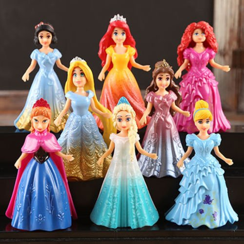 8pcs Cute Princess Action Figures Changed Dress Doll Kids Boy Girl Toy Set (Rag Doll Costume Set)