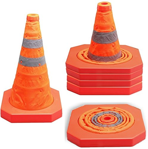Cartman Collapsible Traffic Cone 15,5 Inches, Multi Purpose Pop up Reflective Safety Cone (4PK) by CARTMAN