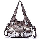 Handbag Hobo Women Handbag Roomy Multiple Pockets Street ladies' Shoulder Bag Fashion PU Tote Satchel Bag for Women (W7127Z Khaki)