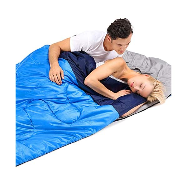oaskys Camping Sleeping Bag - 3 Season Warm & Cool Weather - Summer, Spring, Fall, Lightweight, Waterproof for Adults & Kids - Camping Gear Equipment, Traveling, and Outdoors (Double Blue) 7
