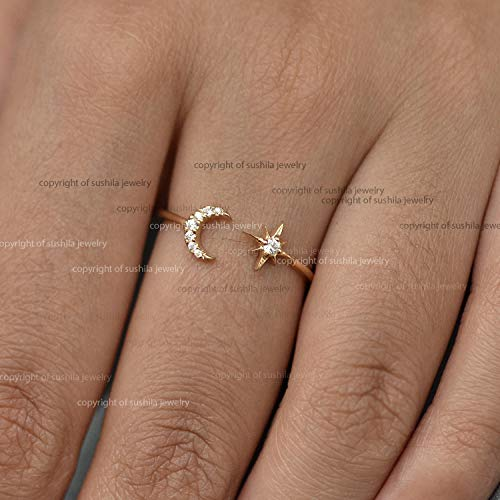 (Solid 14k Yellow Gold Si Clarity G-H Color Diamond Wedding Crescent Moon Star Cuff Band Ring minimalist Jewelry Gift Size 3 to 9